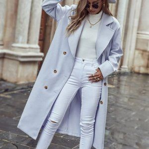 Lapel Collar Double Breasted Overcoat BABY BLUE